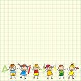 Crianças no papel quadrado ilustração royalty free