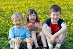 Crianças no prado Foto de Stock Royalty Free