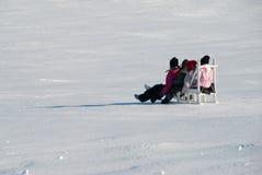 Crianças no sledge Imagem de Stock Royalty Free