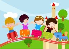 Crianças no trem ilustração do vetor