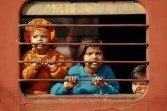 Crianças no trem Imagem de Stock Royalty Free