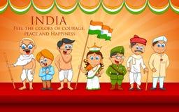 Crianças no vestido de fantasia do lutador indiano da liberdade ilustração royalty free