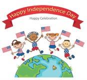 Crianças no vetor do Dia da Independência da bandeira das bandeiras americanas Fotografia de Stock Royalty Free