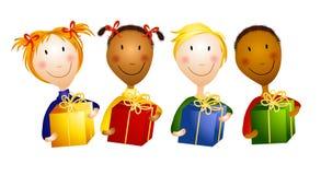 Crianças novas felizes que prendem presentes ilustração stock