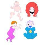 Crianças pequenas de idades diferentes e em poses diferentes ilustração royalty free