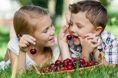 Crianças pequenas felizes que encontram-se perto da árvore com uma cesta do cherr Imagens de Stock