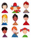 Crianças. Personagens de banda desenhada. Fotografia de Stock