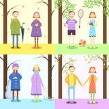 Crianças, quatro estações Fotos de Stock