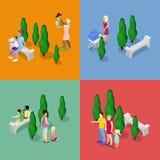 Crianças que andam com pais Conceito de família feliz Ilustração 3d lisa isométrica ilustração stock