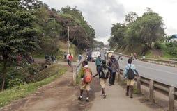 Crianças que andam na estrada Imagens de Stock Royalty Free