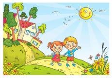 Crianças que andam no campo ilustração stock