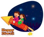 Crianças que apreciam o foguete que comemora o festival de Diwali da Índia ilustração royalty free