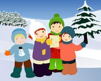 Crianças que cantam canções de natal. Ilustração do Natal. Foto de Stock Royalty Free