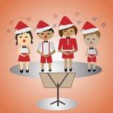 Crianças que cantam em uma festa de Natal Imagem de Stock