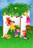 Crianças que comemoram a festa de Succot Imagens de Stock Royalty Free