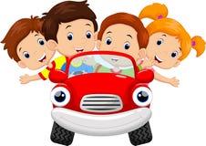 Crianças que conduzem desenhos animados do carro Fotografia de Stock Royalty Free