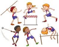 Crianças que contratam em esportes exteriores diferentes ilustração stock