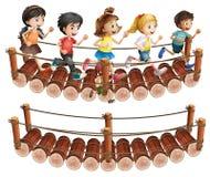 Crianças que correm através da ponte de madeira ilustração stock