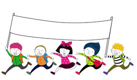 Crianças que correm com uma bandeira vazia da bandeira Fotografia de Stock