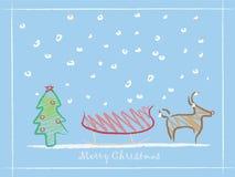 Crianças que desenham o fundo do Natal Foto de Stock Royalty Free