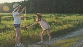Crianças que fundem bolhas de sabão, duas meninas que jogam na natureza filme