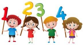 Crianças que guardam números na vara ilustração royalty free