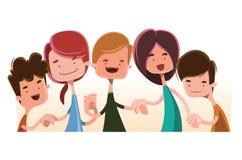 Crianças que guardam o personagem de banda desenhada da ilustração das mãos ilustração do vetor