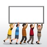 Crianças que guardam uma placa vazia Fotografia de Stock