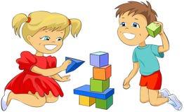 Crianças que jogam com blocos do brinquedo. ilustração stock