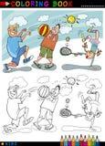 Crianças que jogam desenhos animados da esfera para a coloração Foto de Stock