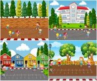 Crianças que jogam jogos exteriores da matemática ilustração do vetor