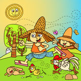 Crianças que jogam na exploração agrícola Imagem de Stock