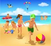 Crianças que jogam na praia Ilustração Stock