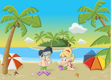 Crianças que jogam na praia tropical bonita ilustração do vetor
