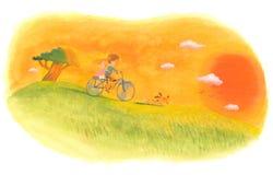 Crianças que jogam no campo no por do sol Imagens de Stock