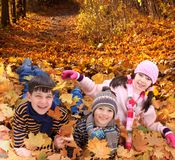 Crianças que jogam no outono   Foto de Stock Royalty Free