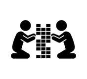 crianças que jogam o ícone isolado silhueta Fotos de Stock