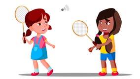 Crianças que jogam o badminton no campo de jogos no vetor do verão meninas Ilustração isolada ilustração stock