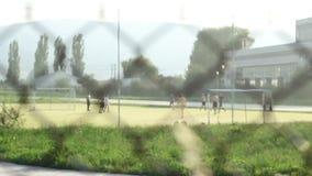 Crianças que jogam o futebol após a cerca filme