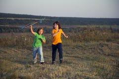 Crianças que jogam o papagaio no prado do por do sol do verão Imagens de Stock Royalty Free