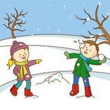 Crianças que jogam para jogar bolas de neve ilustração stock