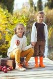 Crianças que jogam perto do lago no outono Imagem de Stock Royalty Free