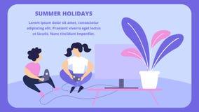 Crianças que jogam Playstation em casa, férias ilustração stock