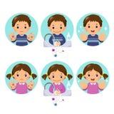 Crianças que lavam e que limpam as mãos com o sabão das bolhas na bacia ilustração do vetor