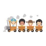 Crianças que montam o trem Fotografia de Stock