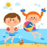 Crianças que nadam no mar ilustração do vetor