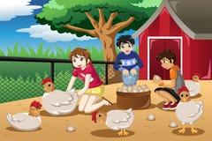 Crianças que recolhem ovos da exploração agrícola Fotografia de Stock