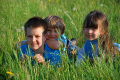 Crianças que relaxam no prado Imagem de Stock
