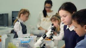Crianças que studing a biologia, química na turma de Biologia da escola primária Vista em um microscópio filme