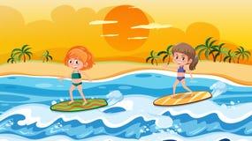 Crianças que surfam na cena das ondas ilustração stock